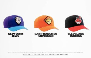 The National Congress of American Indians  released this poster to call attention to the offensive Redskins logo.