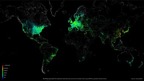 A map of global internet use