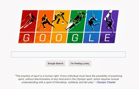 This doodle from Google graces the search page, with the thumbnail on all it's pages on the opening day of the Sochi Olympics