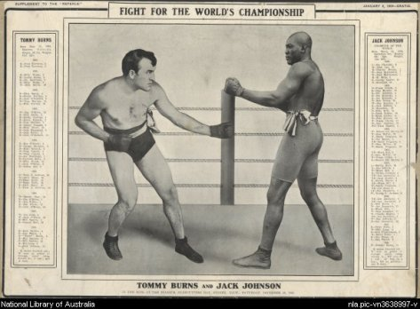 Fighters James Jeffries and Jack Johnson