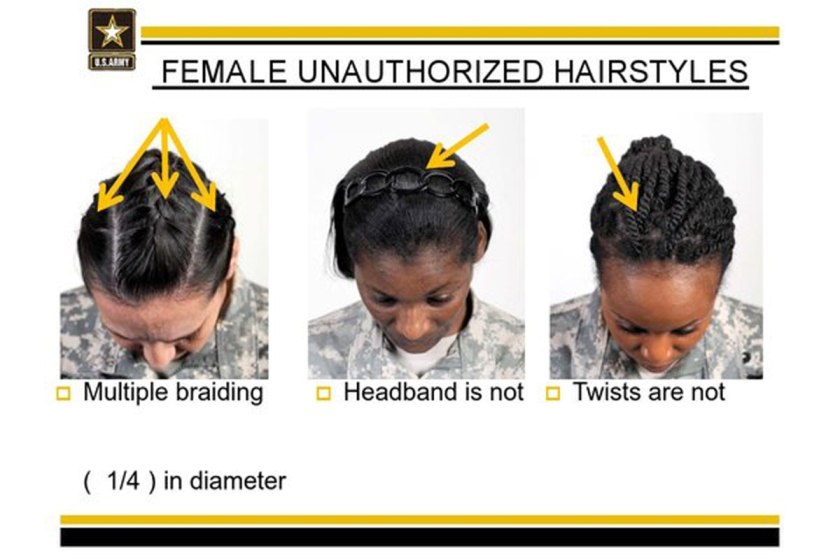 "This undated image provided by the US Army shows new Army grooming regulations for females. New Army regulations meant to help standardized and professionalize soldiers' appearance is now coming under criticism by some black military women, who say changes in the requirement for their hair are racially biased. The Army earlier this week issued new appearance standards, which included bans on most twists, dreadlocks and large cornrows, all styles used predominantly by African-American women with natural hairstyles. More than 11,000 people have signed a White House petition asking President Barack Obama, the commander-in-chief, to have the military review the regulations to allow for ""neat and maintained natural hairstyles."" (AP Photo/US Army)"