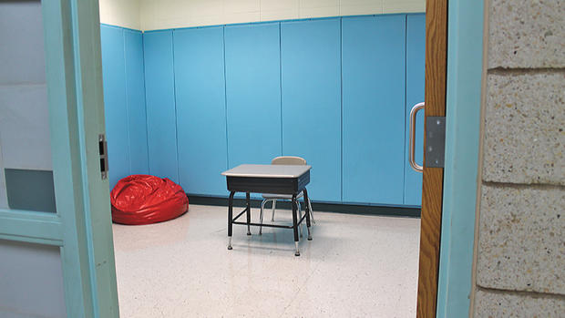 At Northern Lights Elementary School in Superior, Room A130 goes by many different names — the blue room, the de-escalation room, and most commonly, the calming room. It's a room where children go to calm down when their behavior becomes a danger to themselves or others. (Maria Lockwood / Superior Telegram)